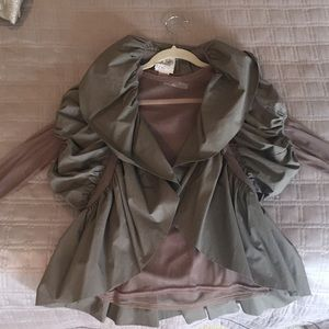Cute Olive vest/jacket with sheer top